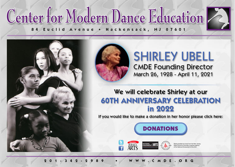 Shirley Ubell honoring her life in our 60th Anniversary Celebration in 2022. Shirley Ubell CMDE Founding Director: March 26,1928-April 11, 2021. Images of Shirley amongst her students.